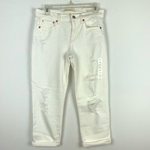 Gap white distressed crop jeans